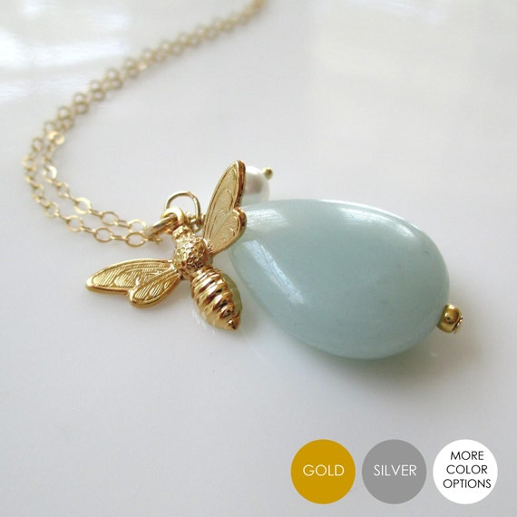 Bee Gemstone Necklace- Amazonite Gold Bee Necklace- Aqua Silver Bee Necklace- Bee Necklace- Bee Charm- NGS-BEE6