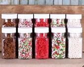 Gingerbread Christmas Sprinkle Set: Gingerbread Man Sprinkles, Nonpareils, Jimmies, Red Heart Sprinkles, White Baby Sugar Pearls (5 jars)
