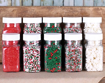 Classic Christmas Sprinkle Set with Snowflake Sprinkles, Red Sanding Sugar, Nonpareils, Holly & Berry Sprinkles, Sparkling Sugar (5 jars)