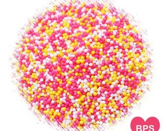 Lemonade Stand Nonpareil Sprinkles in Pink, Yellow, White, Lemonade Party Nonpareils, Pink Nonpareils, Yellow Nonpareils, Cake Pop Sprinkles