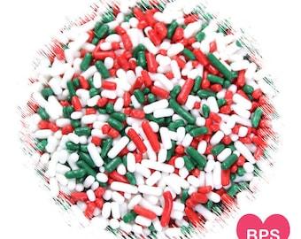 Classic Christmas Jimmies Sprinkles in Red, White & Green, Christmas Sprinkles, Holiday Jimmies, Christmas Cookie Sprinkles