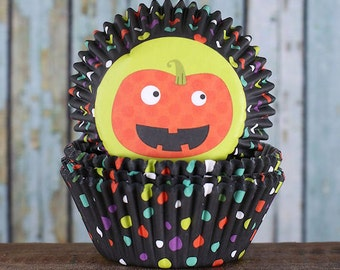 Halloween Cupcake Liners, Polka Dot Cupcake Liners, Pumpkin Cupcake Liners, Pumpkin Baking Cupcake Liners (75)