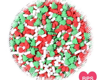 Christmas Tree Sprinkles Mix with Jimmies and Red Dots, Christmas Cookie Sprinkles, Gingerbread House Sprinkles, Christmas Sprinkles