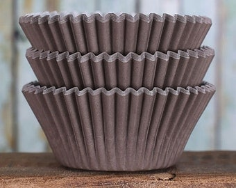 Brown Cupcake Liners, BakeBright Cupcake Liners, Brown Baking Cups, Cupcake Cases, Cupcake Wrappers, Brown Paper Cupcake Liners (60)