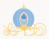 Disney Inspired Pumpkin Carriage from Cinderella Digital CLIP ARTS personal and commercial use for invitations, cards, party supplies
