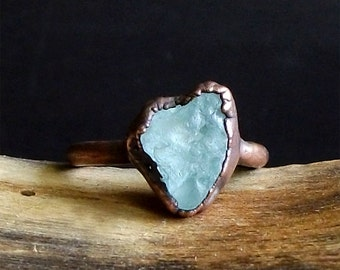 Aquamarine Raw Crystal Ring Midwest Alchemy Natural Rough Stone Jewelry Copper Aquamarine Ring Size 6 Ring March Birthstone