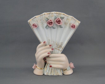 Thames Ladies Hands Holding A Fan Porcelain Vase