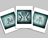 Aliens Movie Tribute Art, Sci Fi Horror Mini Art Prints, Set of 3