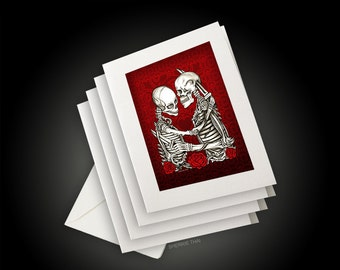 Skeleton Lovers, Love & Hate, Greeting Cards and Envelopes, Set of 4