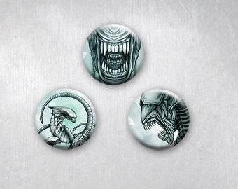 Aliens Xenomorph Evolution Movie Tribute Art, Sci Fi Horror, Pinback Buttons, Original Art Design, 1.25 inch, Set of 3