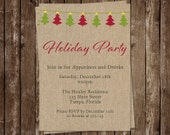 Holiday Party Invitations, Christmas Party, Red, Green, Trees, Rustic, Set of 10 Printed with Envelopes, FREE Shipping, Holiday Party Burlap
