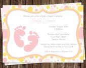 Baby Shower Invitations, Girl, Cute, Polka Dots, Feet, Toes, 10 Printed Invites, Pink, Yellow, Free Shipping, Custom, Sweet Baby