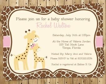 Giraffe, Baby Shower Invitation, Pink, Girl, Animal Print, Zoo, Safari, Mommy and Me, Brown, 10 Printed Invites, FREE Shipping, Customizable