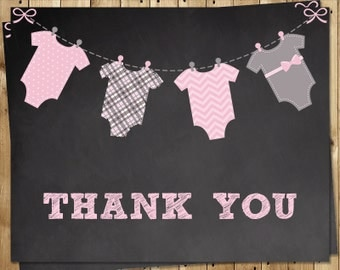 Thank You Cards, Chalkboard, Baby Shower, Girl, Chevron, Polka Dots, Plaid, Gray, Black, Chalk, Board,Pink, 24 Folding Notes, FREE shipping