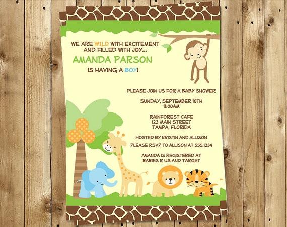 jungle baby shower invitations safari animals boys zoo monkey