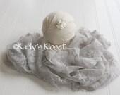 Newborn Stretch Wrap, Silver Lace Baby Wrap, White Baby Headband, Newborn Girl Photo Prop, Stretchy Baby Wrap, Baby Girl Photo Props