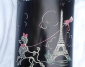 Absolutely Adorable Ransburg Vintage Paris Poodle Eiffel Tower Black, White and Pink with Mid Century Kistch Trash Can