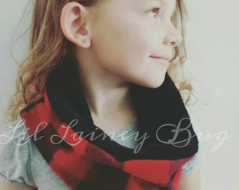 Reversible Cowl Scarf -Baby Toddler Girls Boys - Classic - Fall Winter- Buffalo Plaid Flannel - Mod Trendy - Shorties to Match