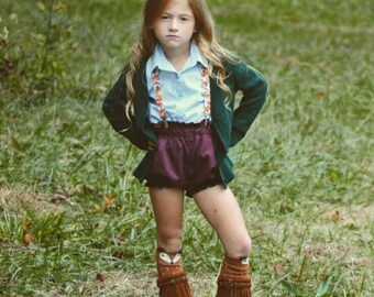 High Waisted Shorts -Baby Toddler Girls Bloomers Shorties - Classic - Fall Winter- Plum Purple Solid - Goes with Everything