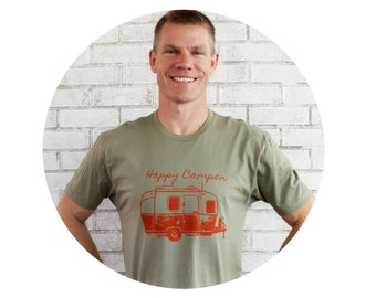 Happy Camper Men's Graphic Tee Shirt, Short Sleeved Cotton Crewneck in Light Olive Drab, Hand Screenprinted, Camping, Camper, Men's Clothing