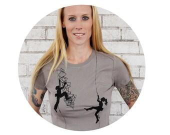 Rock Climbing Tshirt, Ladies T Shirt, Climbers, Warm Grey, Screen Printed Women's Cotton Crewneck Top