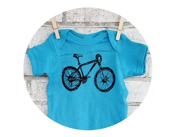 Mountain Bike Cotton Baby Bodysuit, Infant Creeper, One Piece Snapsuit, Turquoise or custom colors