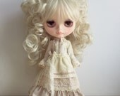 Blythe Long Sleeve Dress with Apron : Cream Fabric, Vintage  Inspired