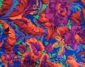 Philip Jacobs fabric Tropical cobalt, rare OOP, vhtf, half yard
