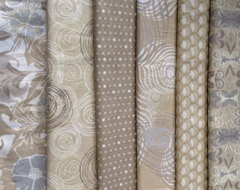 Taupe fabric pack, Preeti by Jessica Swift for Blend fabrics, six yards