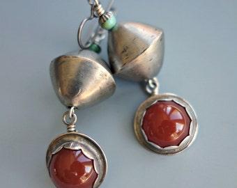 Vintage Carnelian Silver Earrings