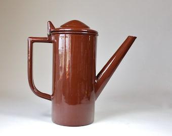 Vintage Brown Enamel Metal Coffee Pot Pour Over Coffee Tea Pot with Enamel Strainer Insert Retro Enamelware