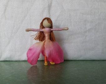 Waldorf Flower Fairy Doll - Pink Art Doll,  Peach Fairy, Worry Doll, Faery, elemental