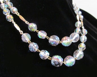 Vintage Glass Crystal Bead Necklace