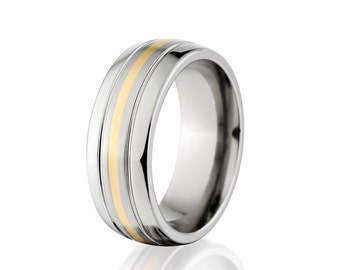 New 7mm Titanium Ring With 14k Yellow Gold Inlay, Free Sizing Jewelry 4-17