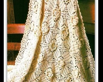 "Crochet Afghan Pattern - Rose Afghan - PDF 09230819 - Measures 45"" x 60"" - Instant Download"