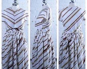 Vintage 1950s Homemade Striped Skirt & Bolero Set