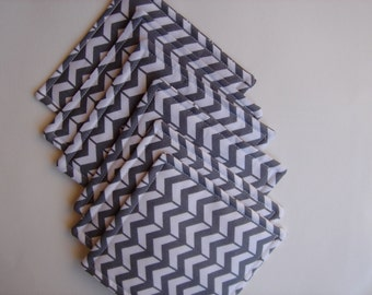 Fabric Coasters,  Charcoal Gray, Gray and White,  Chevron Stripe Coasters,  Reversible,  Set of Six