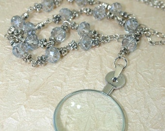 Monocle Magnifying Necklace, Magnifier Pendant, Optical Lens diopter +14 Steampunk/Victorian Style