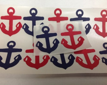 25 pc Red and  Blue Paper Anchor stickers New Baby