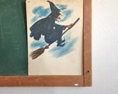 Vintage School Flashcard- Witch