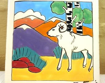 Vintage Goat/Ram Tile Art