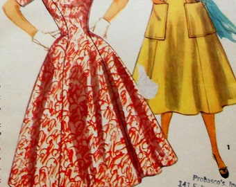 Vintage Dress Sewing Pattern UNCUT Simplicity 1000 Size 13 1950s