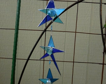 Stained Glass 3 Star Mobile with Prism - Handmade - Suncatcher - Window Decor - Gift - Christmas - Birthday
