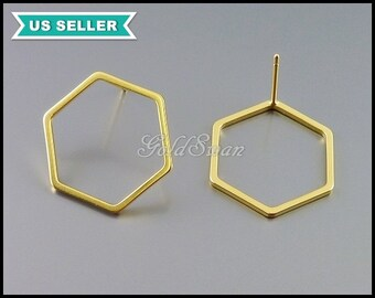4 pcs / 2 pairs of 17mm hexagon stud earrings in matte gold, geometric shape earrings, honeycomb earrings 1074-MG-17