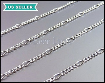1 meter unique curb chains, small link chains in shiny silver (rhodium plated), chain B085-BR