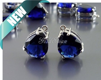 2 beautiful dark blue crystal stone in rhodium silver setting, royal blue color glass stones, necklace pendant 5067R-RB