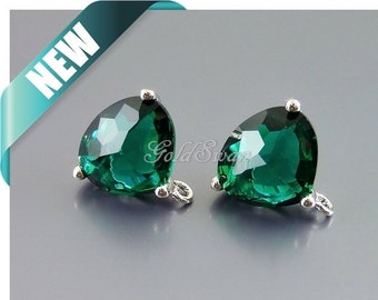 2 May birthstone color Emerald glass earrings in silver setting with loop, make birthstone, holiday, wedding earrings 5133R-EM