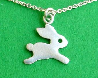 Tiny Bunny Necklace sterling silver Rabbit Kids Jewelry charm necklace kids jewelry necklace charm holiday dainty pendant Birthday pendant