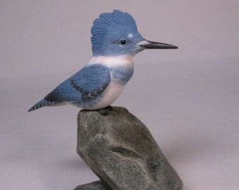 Male Belted Kingfisher male Hand Carved wooden Bird