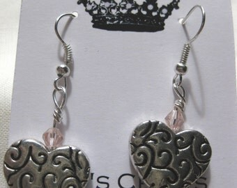 Earrings Glass Bead Heart spacer tibetan silver bead silver plated fish hook Handcrafted Jewelry light pink
